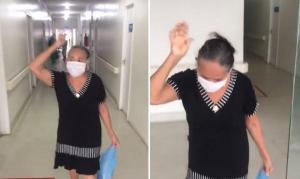 Idosa do 'círculo de oração' deixa hospital louvando a Deus, após vencer a Covid-19