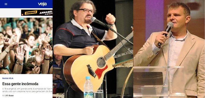 Artigo da revista Veja (esquerda) foi criticado por líderes cristãos, como Asaph Borba (centro) e Rina (direita)