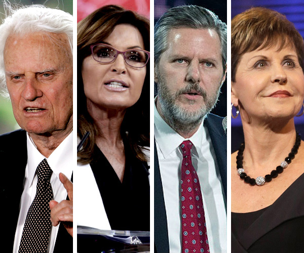 Evangélicos influentes nos EUA: Billy Graham, Sarah Palin, Jerry Falwell Jr., e Joyce Meyer.