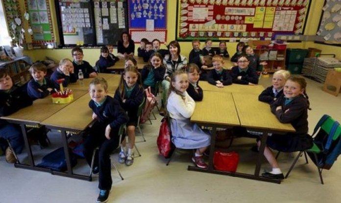 Sala de aula do ensino fundamental no Reino Unido