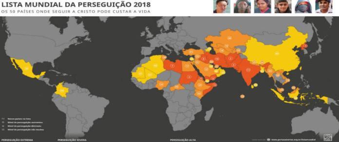 Lista mundial de perseguição 2018 elaborada pela Missão Portas Abertas