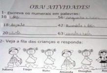 Atividade escolar cujo erro de digitação levou os pais a criticarem a ideologia de gênero