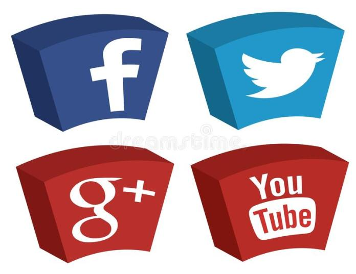 Facebook, Twitter, Google + e Youtube