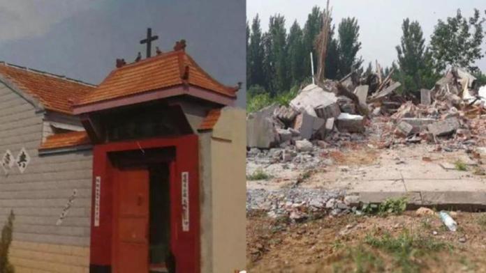 Igreja demolida pelo Partido Comunista Ateu da China