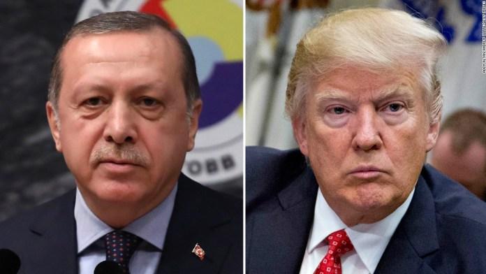 Presidente da Turquia, Recep Tayyip Erdogan e o presidente dos EUA, Donald Trump