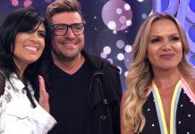 Fernanda Brum e Emerson Pinheiro juntos com a apresentadora do SBT, Eliana