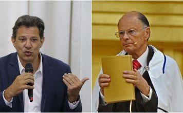 O candidato Fernando Haddad e o bispo Edir Macedo Foto: Arte/Pleno.News