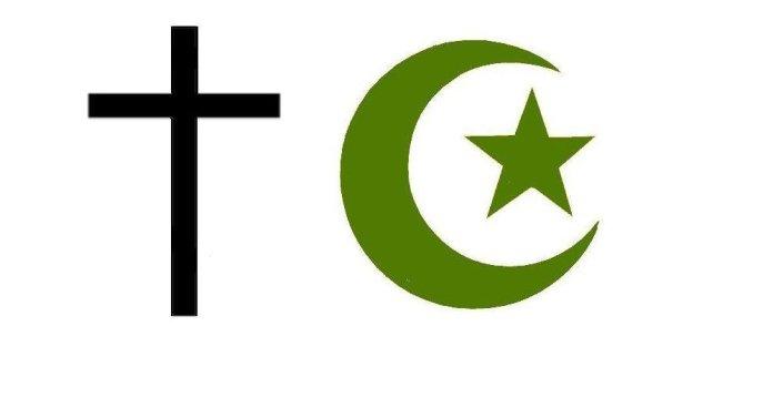 Símbolos do cristianismo e do islamismo