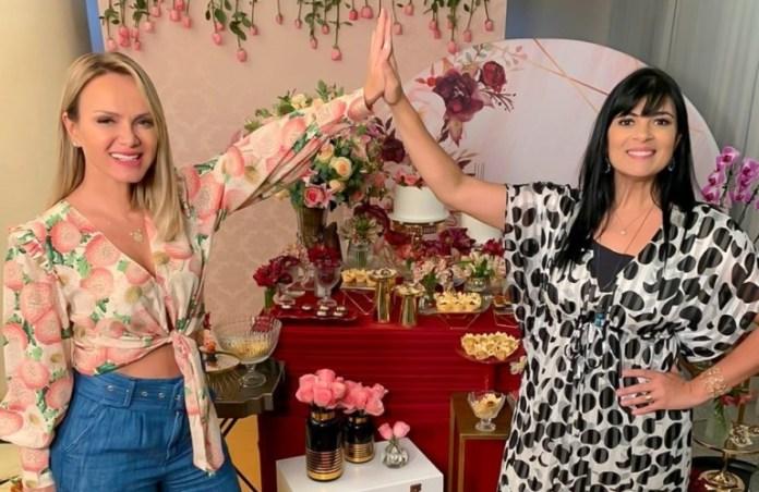 A apresentadora do SBT, Eliana, visitou a cantora Fernanda Brum