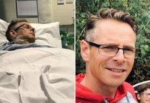 O Pr. Wickland em coma no hospital e hoje recuperado com a família. (Foto: Reprodução/Premier)