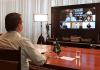 Presidente Jair Bolsonaro em celebração de Páscoa por videoconferência. (Foto: Reprodução/TV Brasil)