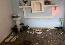 Imagens católicas quebradas em igreja de Minas Gerais