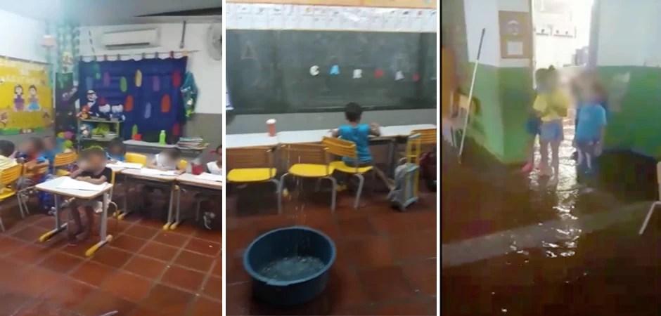 agua_na_escola_alunos_caregados_por_funcionários