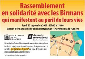 Rassemblement en solidarité avec les Birmans