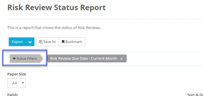 How do I create a Status Report on Risk Reviews?