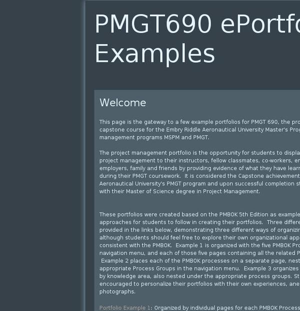 PMGT690 EPortfolio Examples