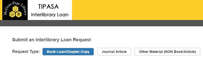 Image shows request type buttons under Submit an Interlibrary Loan Request text