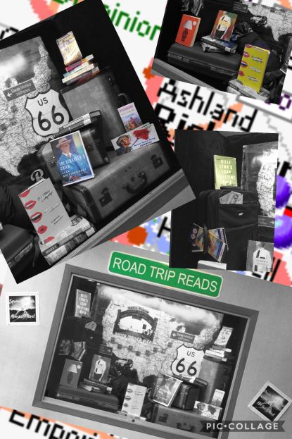 A collage of images showing the road trip spring break exhibit in the library vestibule