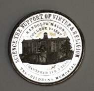 Back of H.G. Leigh medal depicitng main building of Randolph-Macon College in Boydton