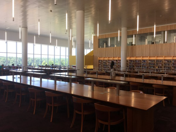 Picture of study tables at the reading room in the Hunt Library, NCSU