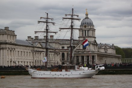 Aphrodite (1994) at her mooring beside the Old Royal Naval College