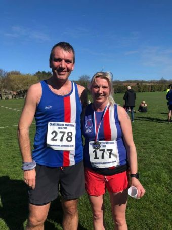 Tony Scott and Jenny Quinn smiling at the end of the Canterbury Riverside 10k