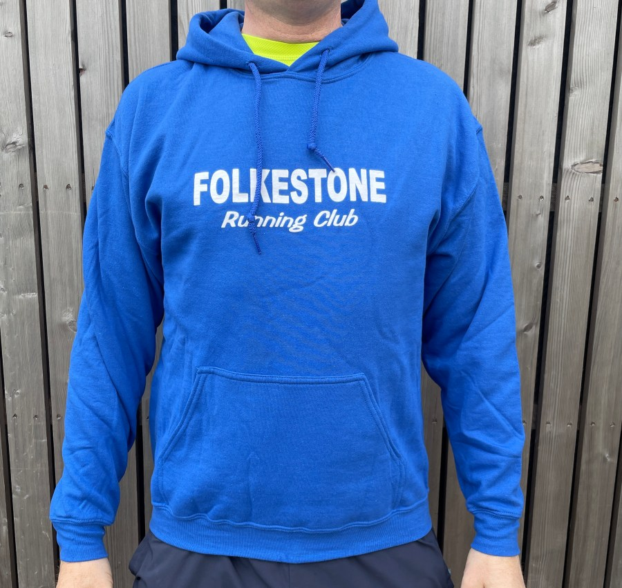 Hoodies are long sleeved, blue, with no fastening. On the middle of the chest are the words 'Folkestone Running Club'