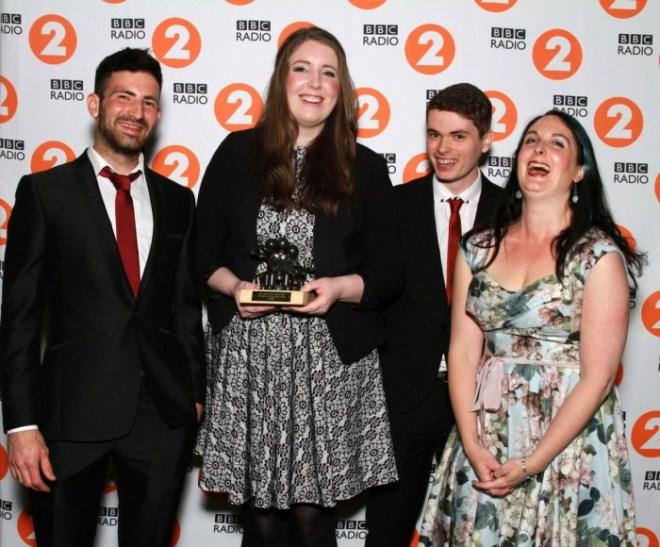 BBC Radio 2 Young Folk Award winners TALISK with Nancy Kerr. Photo courtesy of the BBC.