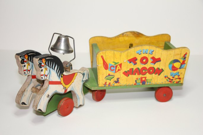 1942 Fisher Price 171 Wood The Toy Wagon Pull Toy