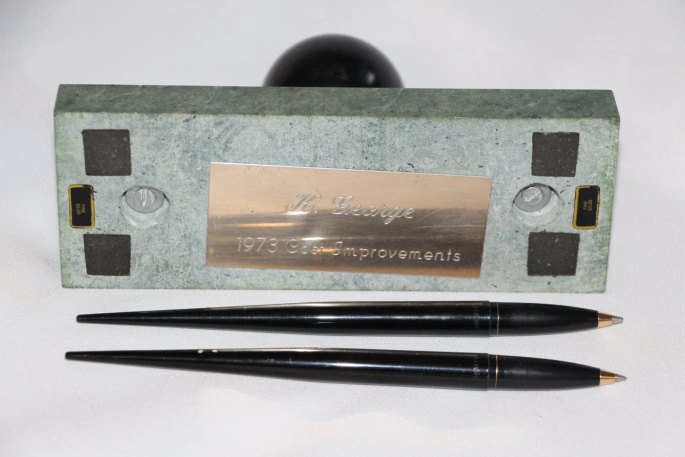 1970s Green Marble Desk Set Honeywell Thermometer Award