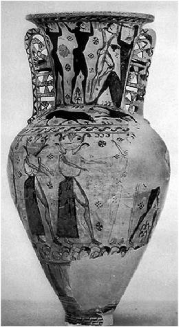 Proto-Attic Amphora from Eleusis, c.650 BC, depicting the gorgons pursuing Perseus (https://www.college.columbia.edu/core/sites/core/files/Untitled2.jpg)