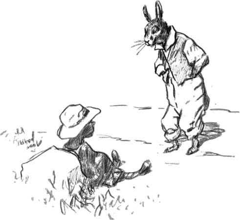 Br'er Rabbit meets the Tar-Baby in an illustration by E.W. Kemble from Joel Chandler Harris's 1904 book The Tar-Baby. https://commons.wikimedia.org/wiki/File:Br%27er_Rabbit_and_Tar-Baby.jpg