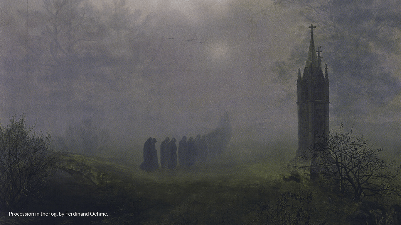 Procession in the fog, by Ferdinand Oehme.