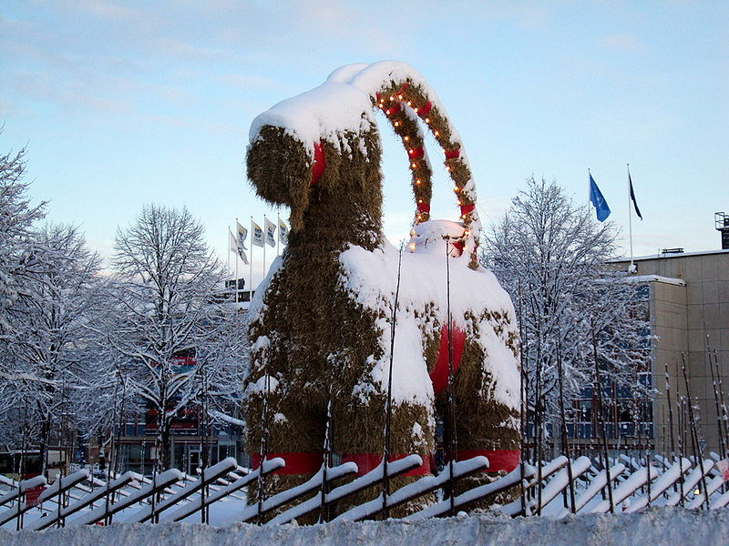 The Yule Goat in Gävle, Sweden © Tony Nordin https://commons.wikimedia.org/w/index.php?curid=8800652
