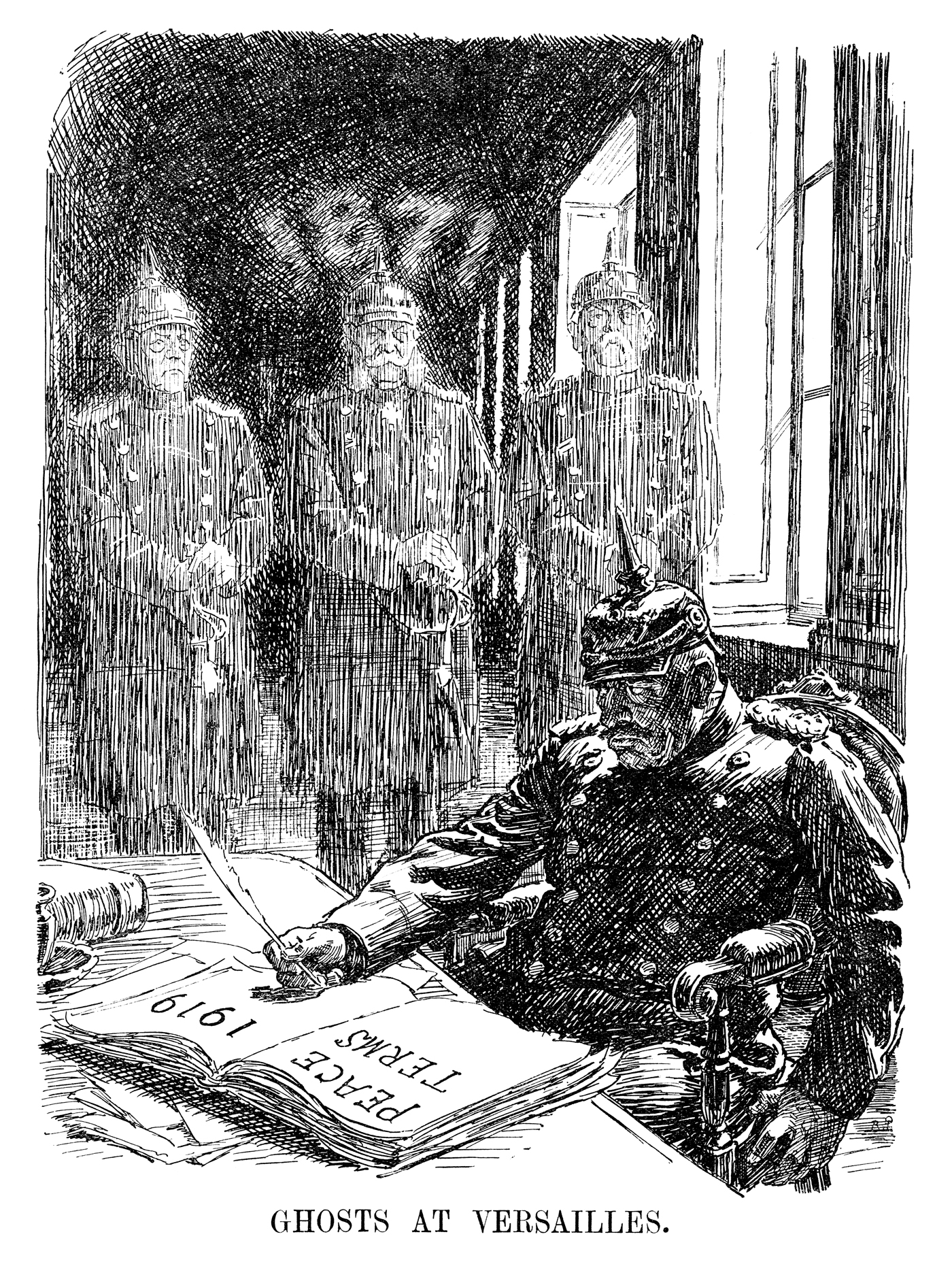 Ghosts at Versailles. Published in Punch 7 May 1919. Kaiser Wilhelm II ponders the very different negotiations at Versailles in 1871 when Germany was the triumphant victor of the Franco-Prussian War. The shades of Otto von Bismarck and his grandfather Wilhelm I appear before the recalcitrant Kaiser. By Bernard Partridge © Punch Ltd