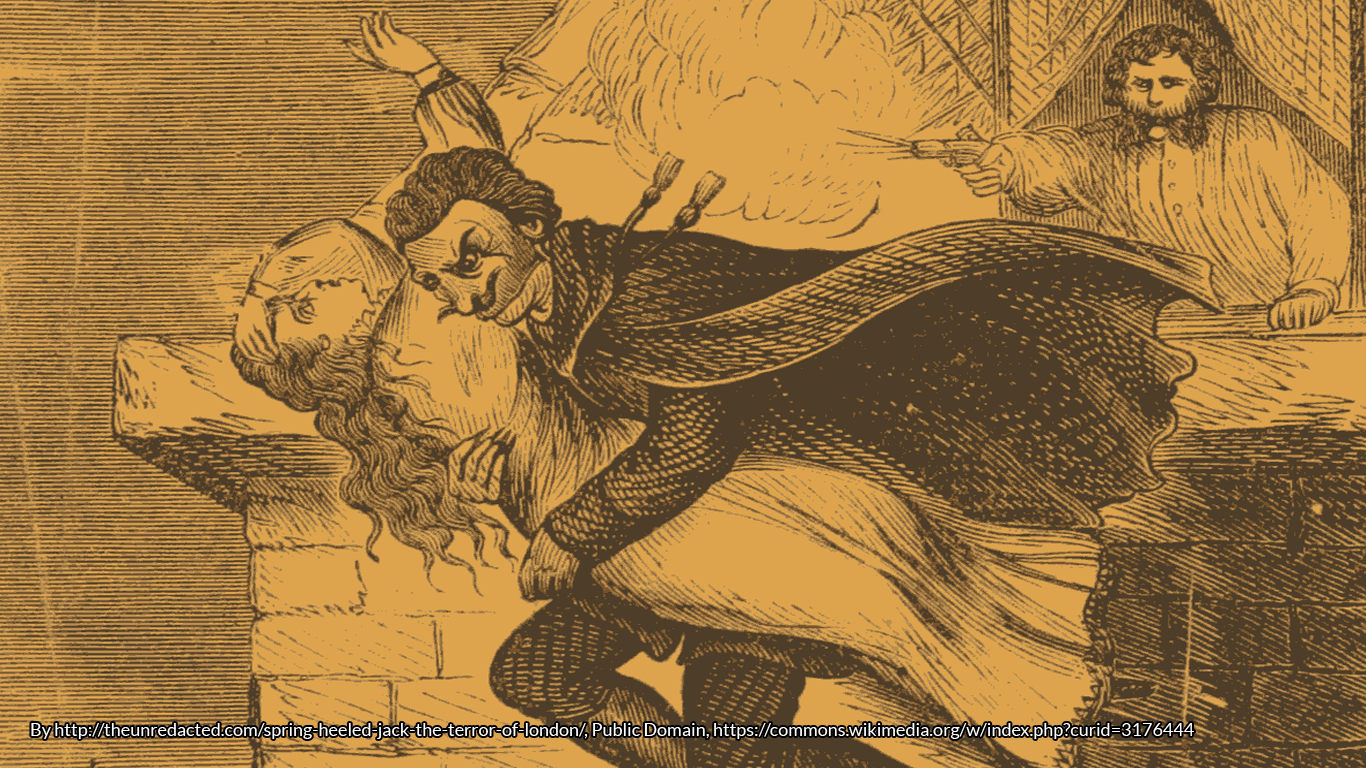 Drawing of Spring Heeled Jack https://commons.wikimedia.org/wiki/Spring_Heeled_Jack#/media/File:Spring_Heeled_Jack-penny_dreadful.png