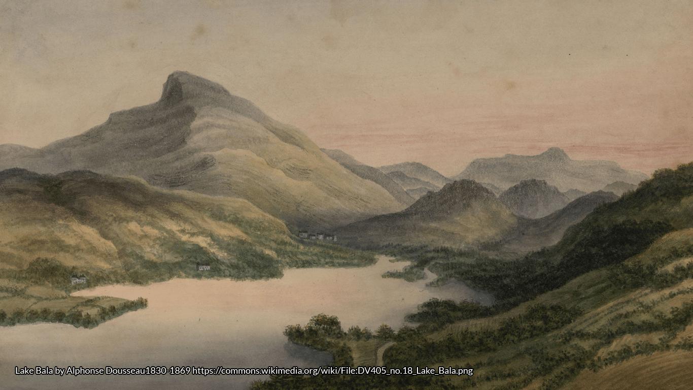 Lake Bala by Alphonse Dousseau1830-1869 https://commons.wikimedia.org/wiki/File:DV405_no.18_Lake_Bala.png