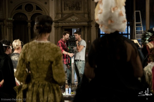Director Emanuele Mengotti and Cinematographer Edoardo Emanuele on the set of The Plague Doctor.