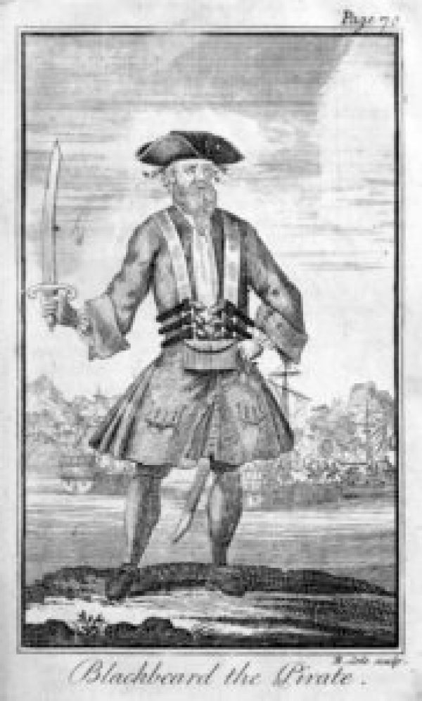 """Blackbeard, by Engraved by Benjamin Cole[1] (1695–1766) - Defoe, Daniel; Johnson, Charles (1724) """"Capt. Teach alias Black-Beard"""" in A General History of the Pyrates: From Their First Rise and Settlement in the Island of Providence, to the Present Time. With the Remarkable Actions and Adventures of the Two Female Pyrates Mary Read and Anne Bonny. To Which is Added. A Short Abstract of the Statute and Civil Law, in Relation to Pyracy. (Second Edition ed.), London: T. Warner, pp. plate facing p. 70 Retrieved on 8 April 2010., Public Domain, https://commons.wikimedia.org/w/index.php?curid=10112479"""