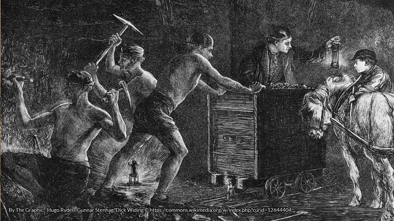 Coal mining. Illustration from The Graphic 1871. https://commons.wikimedia.org/wiki/File:Coal_mining.jpg