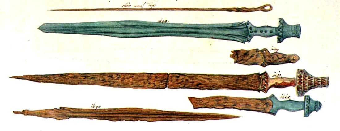 Drawing of Iron and Bronze swords found in Hallstatt https://en.wikipedia.org/wiki/File:Hallstatt_culture_swords_ramsauer.jpg