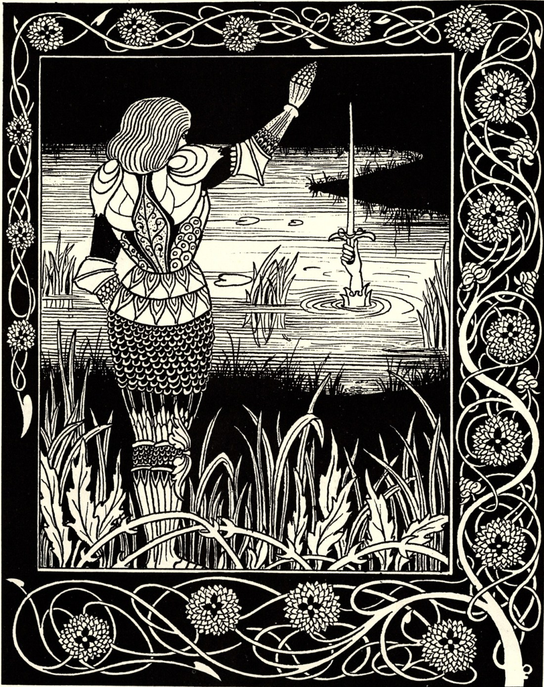 How Sir Bedivere Cast the Sword Excalibur into the Water. © 1894 Sir Thomas Malory, Le Morte d'Arthur https://commons.wikimedia.org/wiki/File:Bedivere.jpg