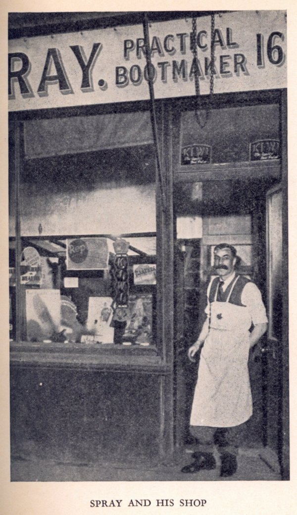 Arthur Spray, The Mysterious Cobbler, outside his shop at 16 Station Road, Bexhill © Bexhill Museum Arthur Spray Archive