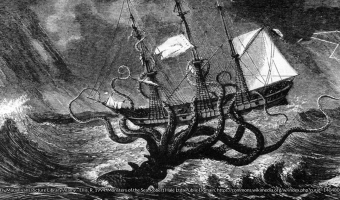 Engraving of a giant octopus attacking a ship
