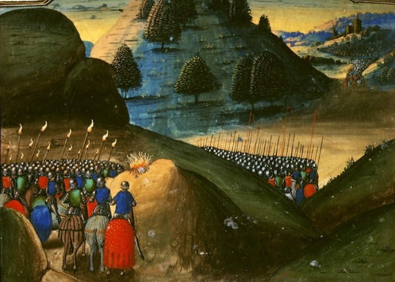 Painting of an army marching over a hill