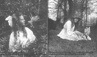 Two old photographs showing two girls, each with a fairy