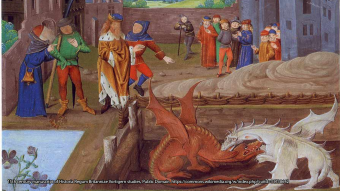 Illumination of a 15th century manuscript of Historia Regum Britanniae showing king of the Britons Vortigern and Ambros watching the fight between two dragons.