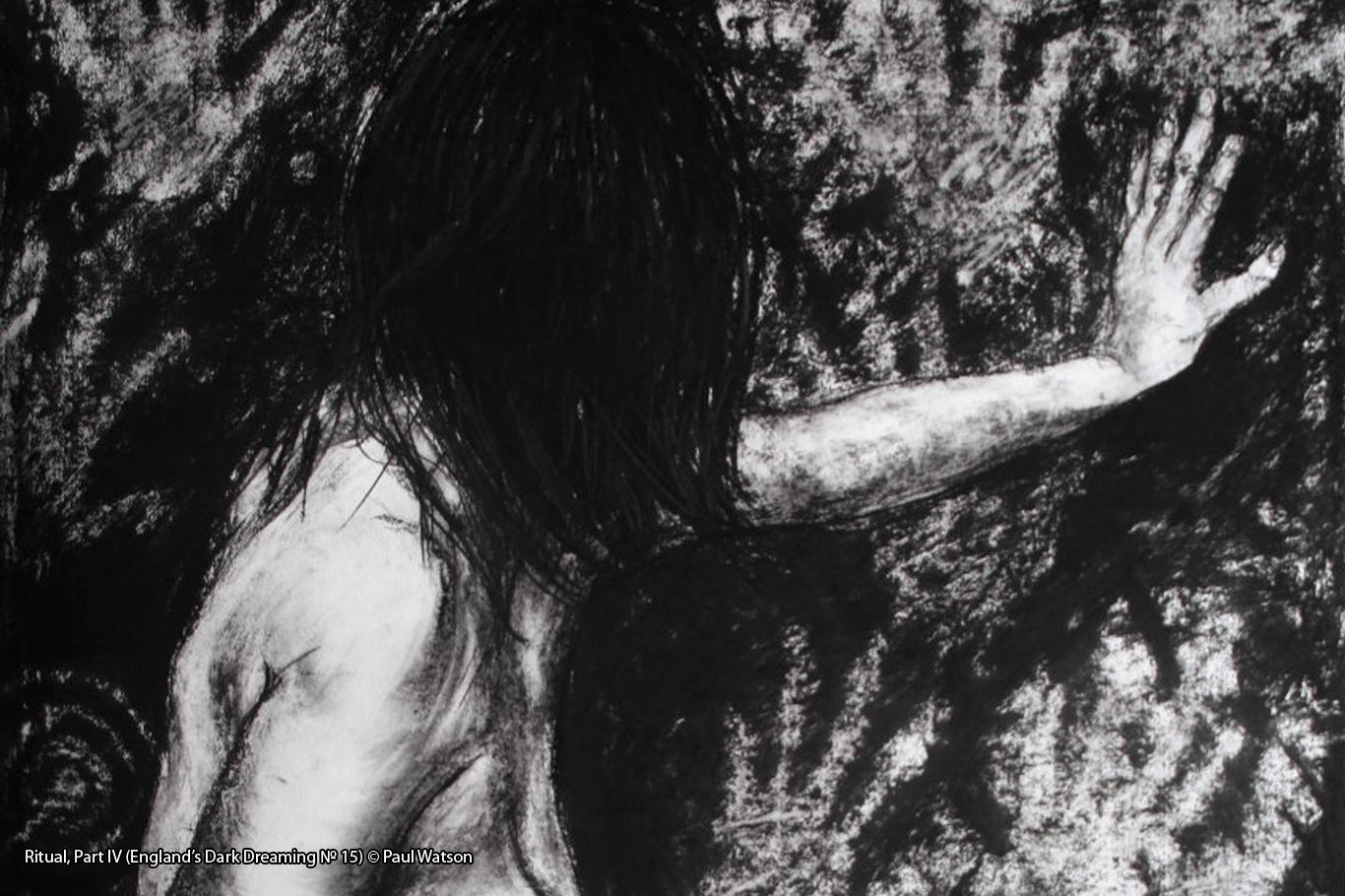 Ritual, Part IV (England's Dark Dreaming № 15) © Paul Watson Charcoal drawing of a woman making rock art handprints