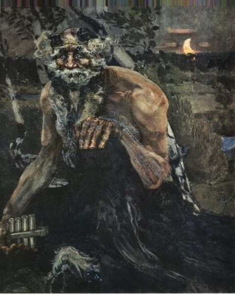 """A darker turn-of-the century Pan. """"Pan"""" by Mikhail Vrubel. 1899. Source https://commons.wikimedia.org/w/index.php?curid=218314"""