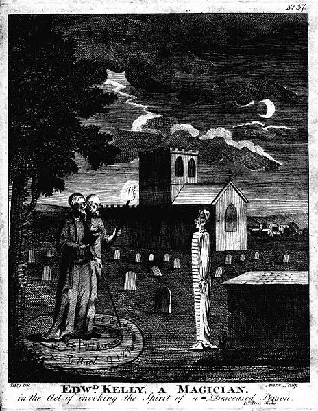 Edw[ar]d Kelly, a Magician. in the Act of invoking the Spirit of a Deceased Person. Source https://commons.wikimedia.org/w/index.php?curid=706461